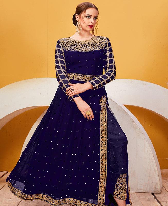 Embroidered Georgette Blue Abaya Style Salwar