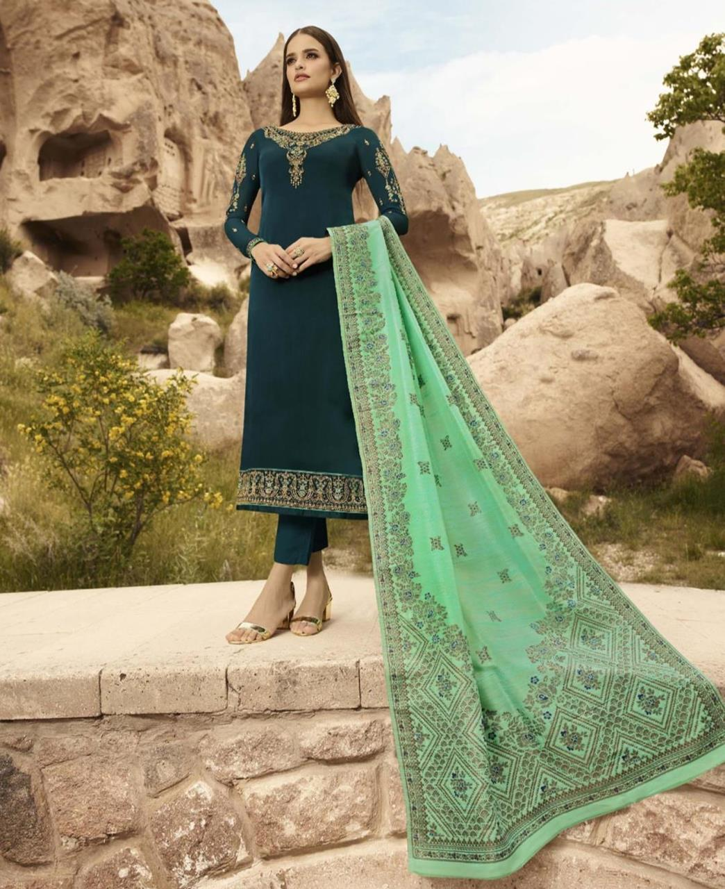 Cord Work Satin Green Straight Cut Salwar