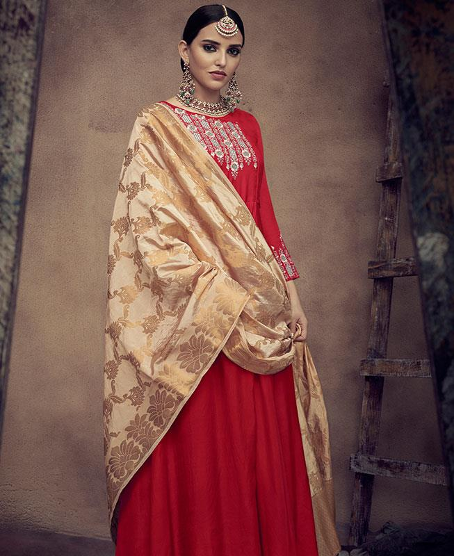 Embroidered Satin Red Abaya Style Salwar