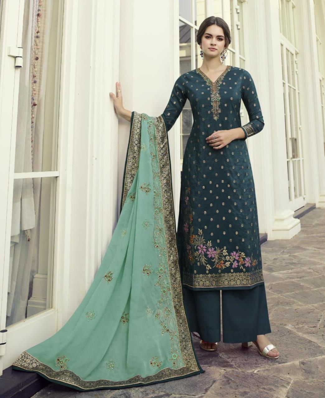 HandWorked Jacquard Straight cut Salwar Kameez in Teal Blue