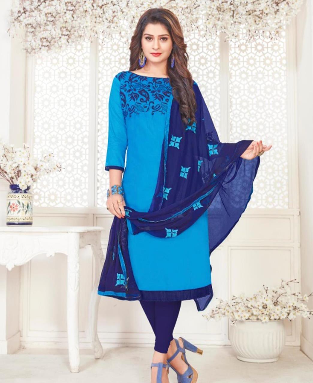 Embroidered Cotton Satin SKYBLUE Straight Cut Salwar Kameez