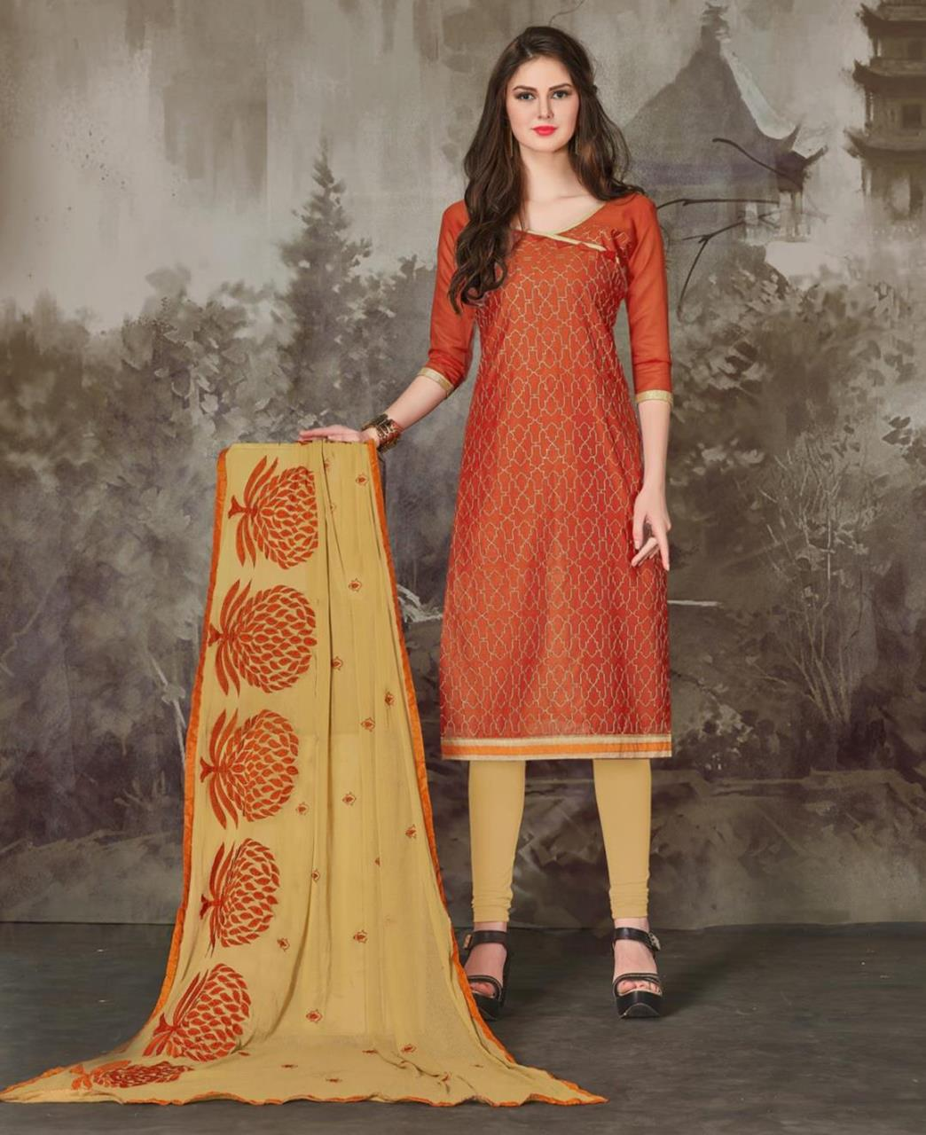 Embroidered Chanderi Orange Straight Cut Salwar Kameez