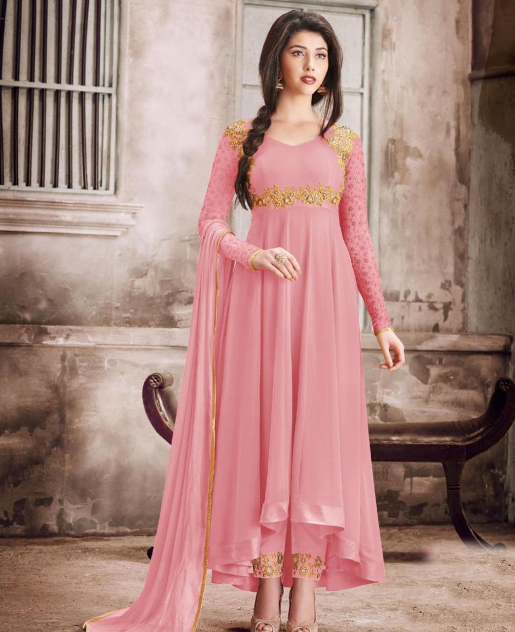 Thread Georgette Abaya Style Salwar in Pink