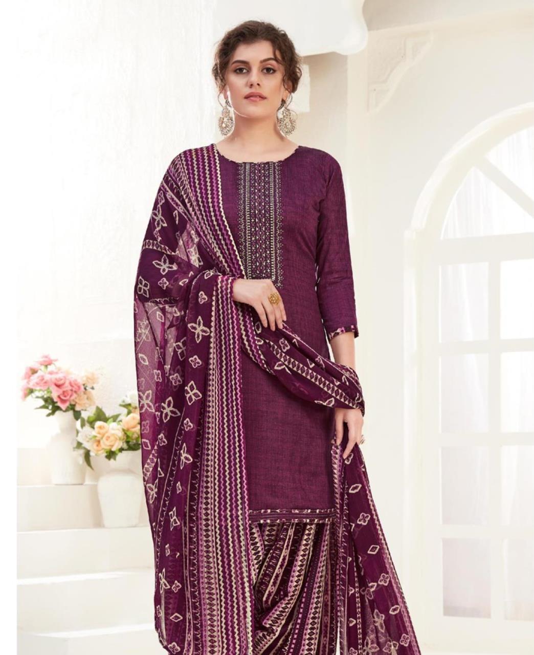Thread Cotton Patiyala Suit Salwar in Purple