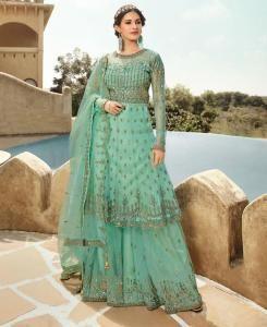 Thread Net Abaya Style Salwar in Turquoise