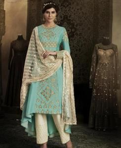 Embroidered Silk Green Palazzo Suit Salwar