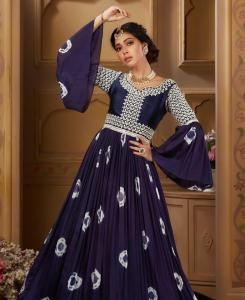 HandWorked Silk Straight cut Salwar Kameez in Navy Blue