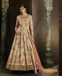 Embroidered Silk Straight cut Salwar Kameez in Beige