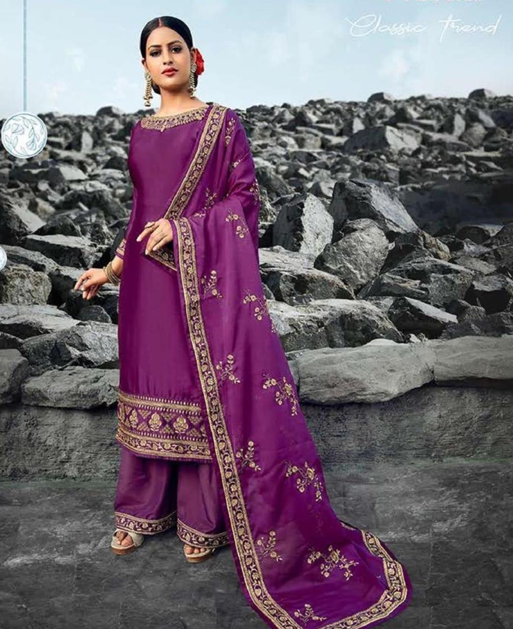 Resham Georgette Straight cut Salwar Kameez in Purple