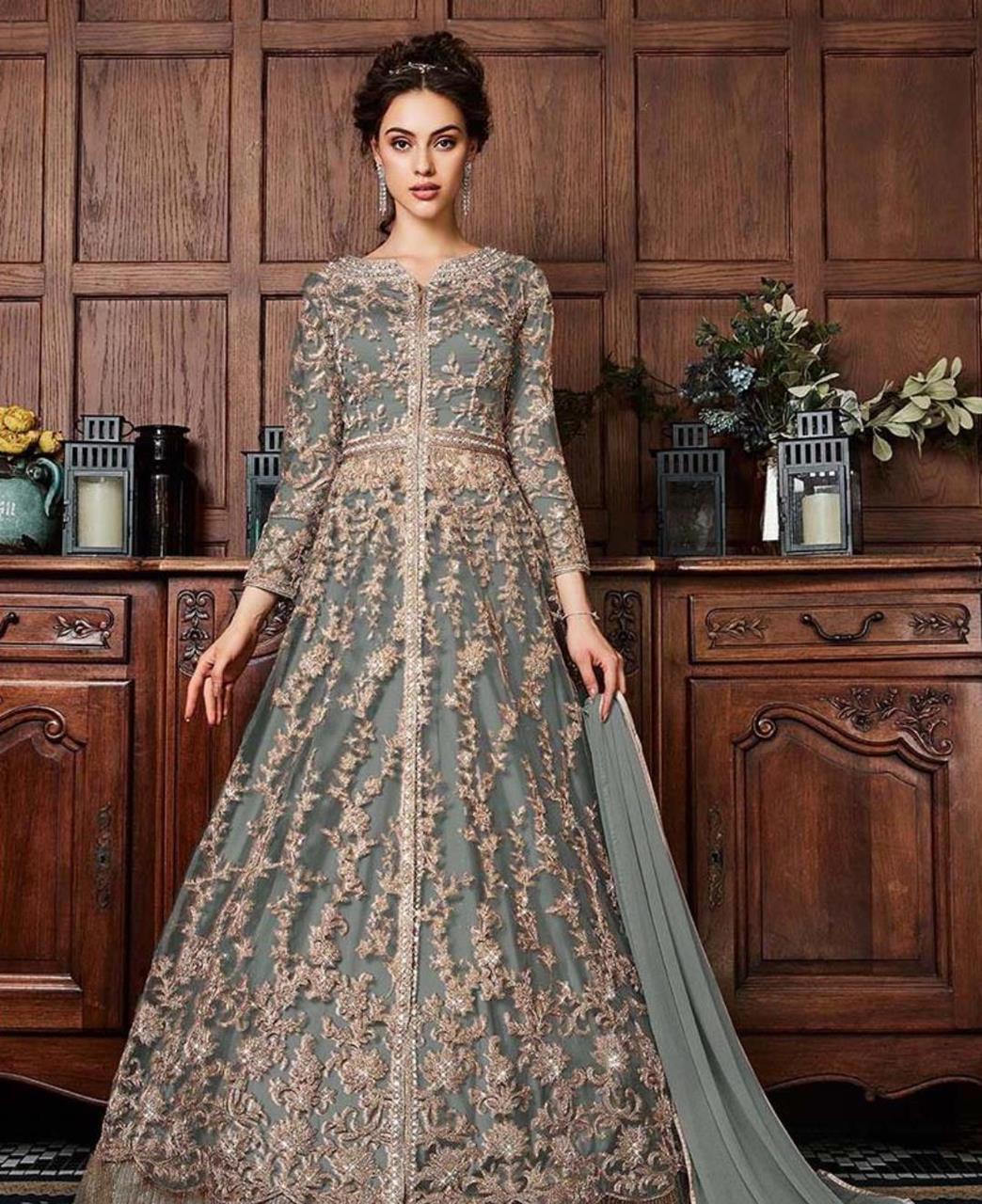 Net Abaya Style Salwar in Gray