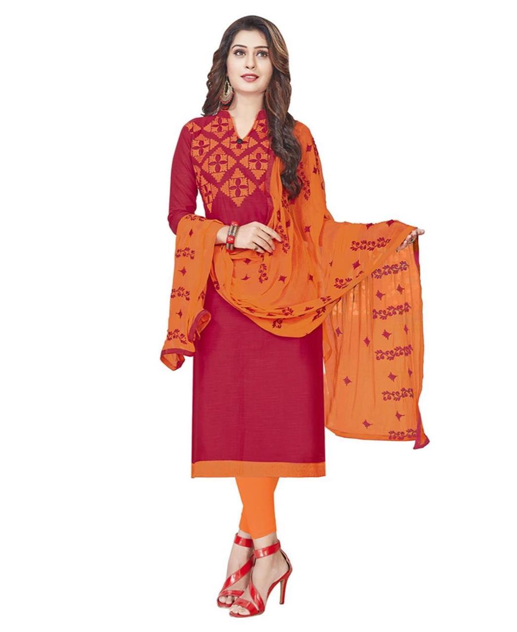Embroidered Cotton DEEPPINK Straight Cut Salwar