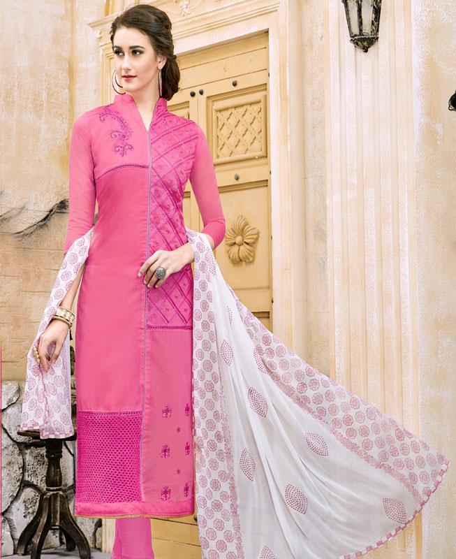 Border Work Chanderi Cotton Pink Straight Cut Salwar Kameez