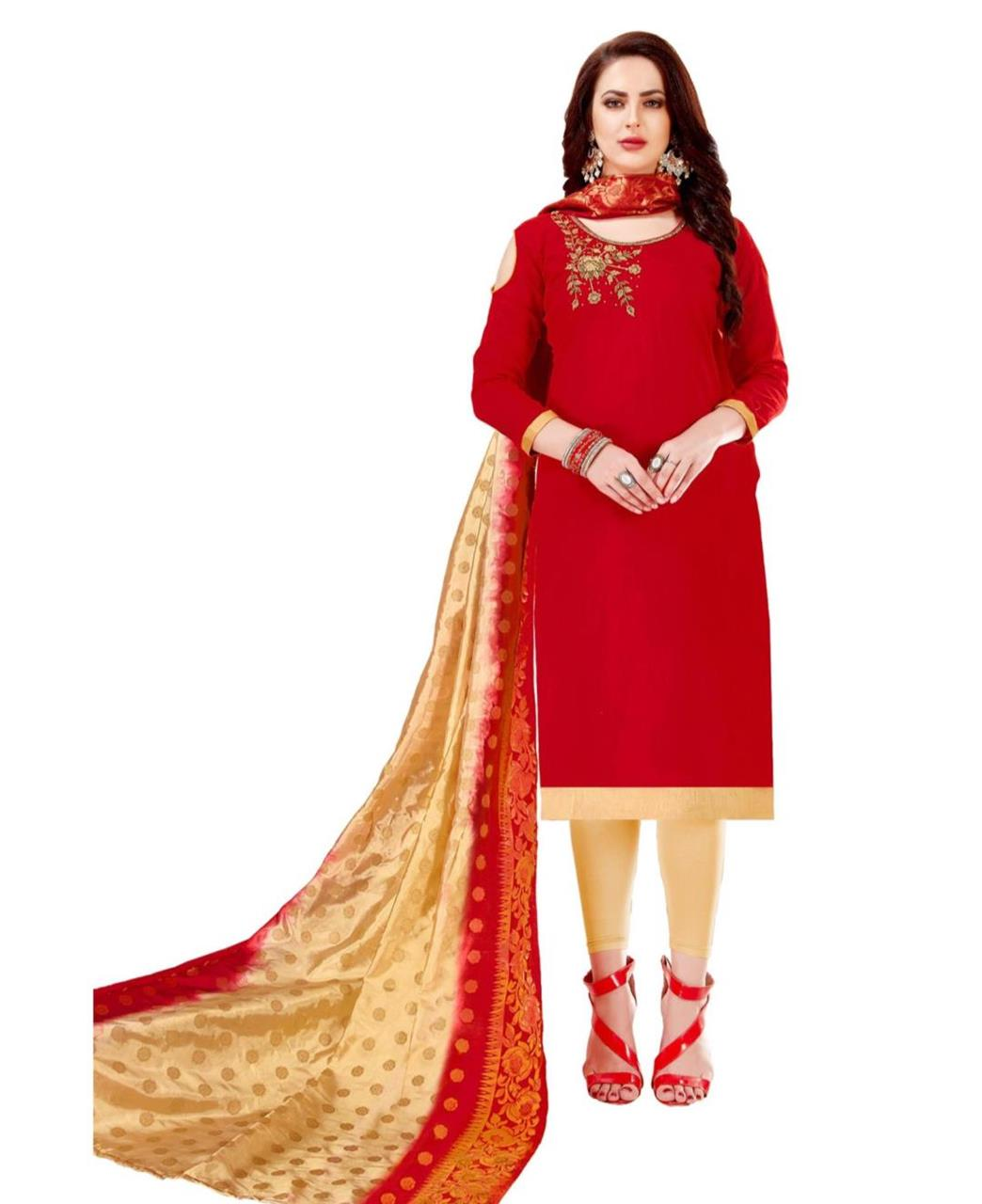 HandWorked Cotton Red Straight Cut Salwar