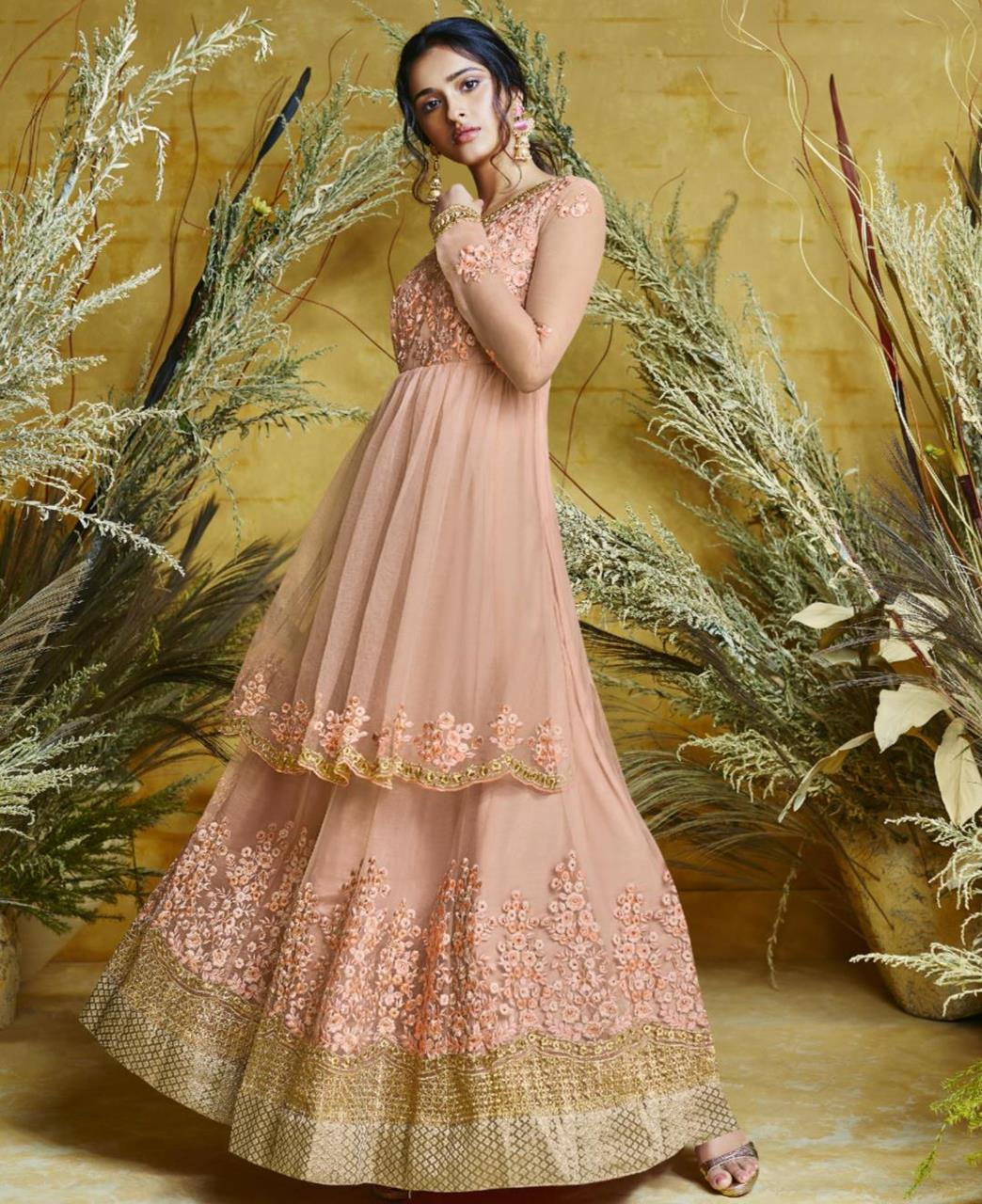 Embroidered Net PeachPuff Abaya Salwar Kameez