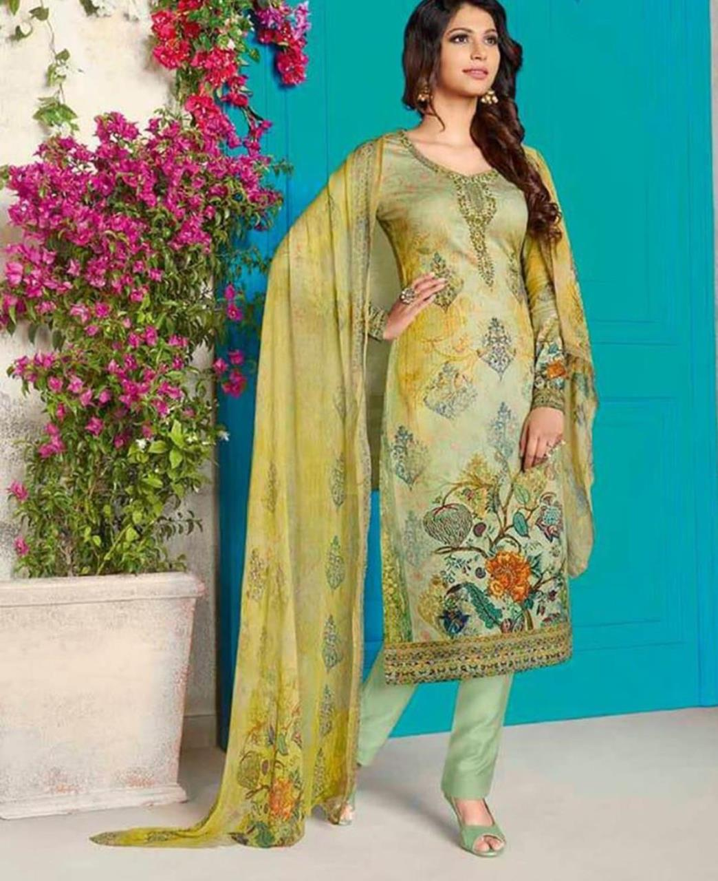 Embroidered Cotton MINTCREAM Straight Cut Salwar