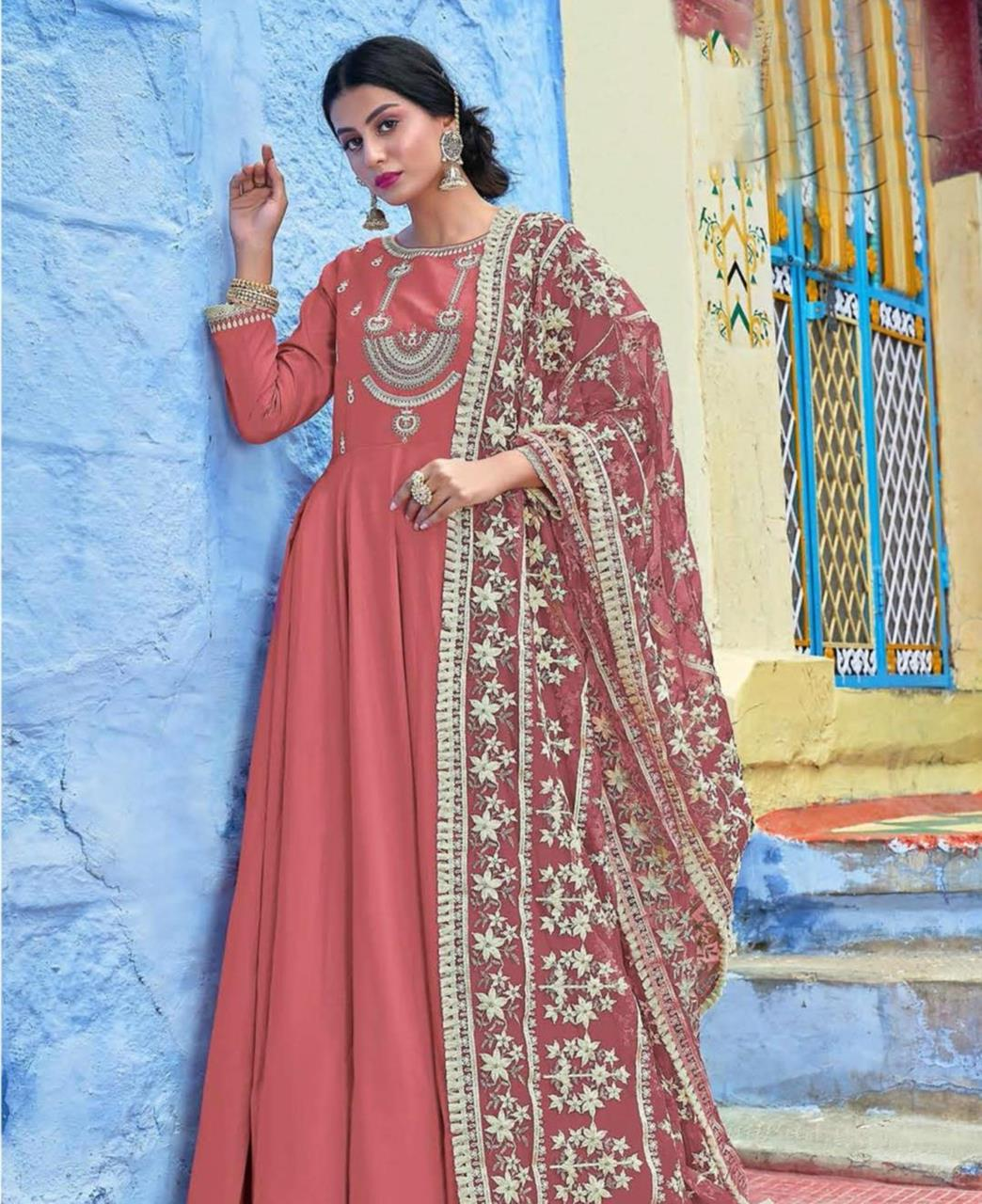 Embroidered Silk Pink Abaya Style Salwar