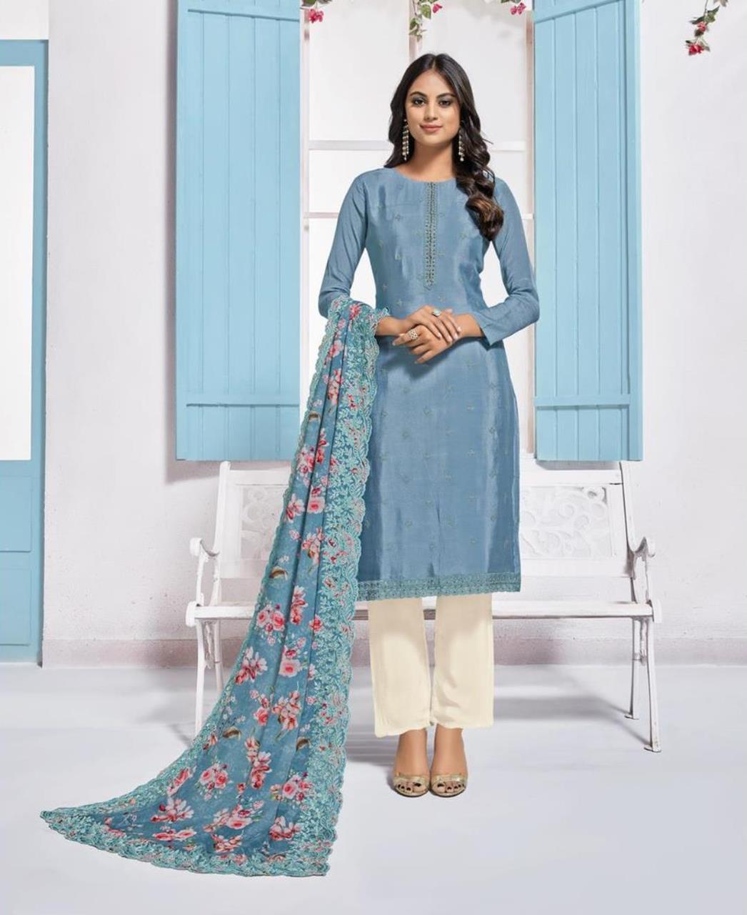 Printed Crepe Straight cut Salwar Kameez in Steel Blue