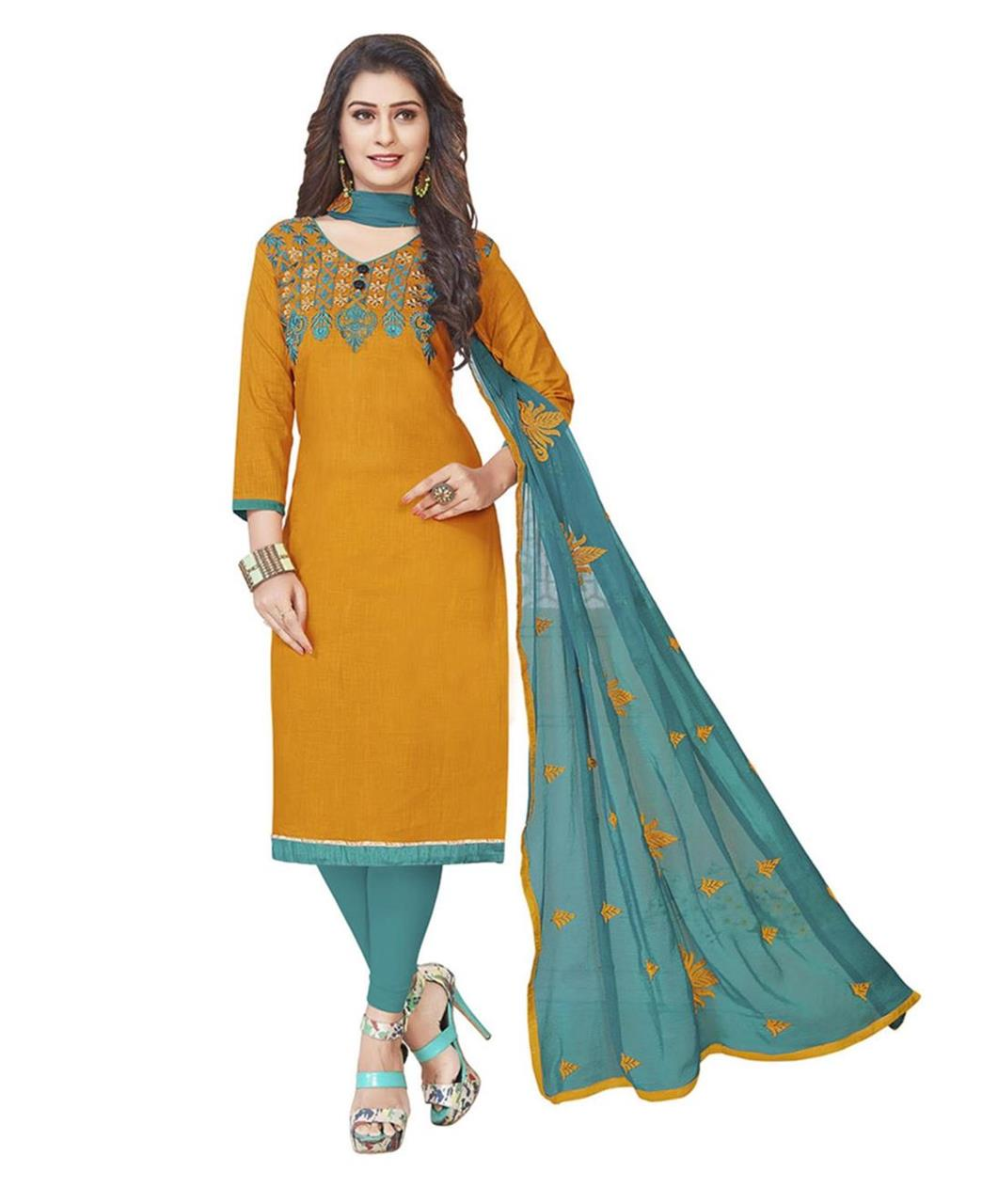 Embroidered Cotton Yellow Straight Cut Salwar