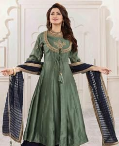 Embroidered Silk Straight cut Salwar Kameez in Sea Green