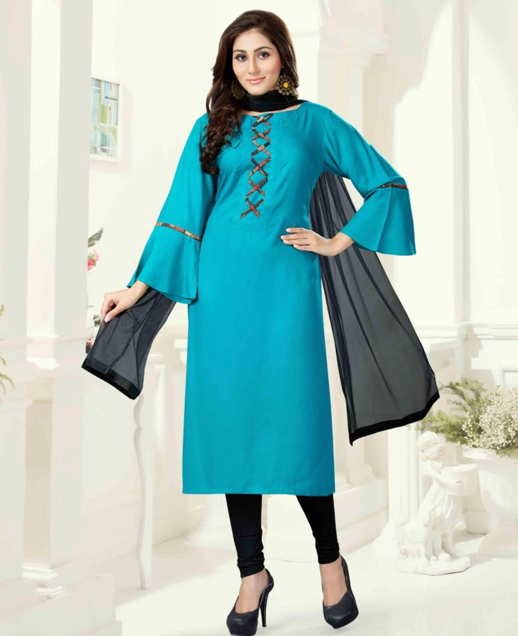 Plain Art Silk Turquoise Straight Cut Salwar