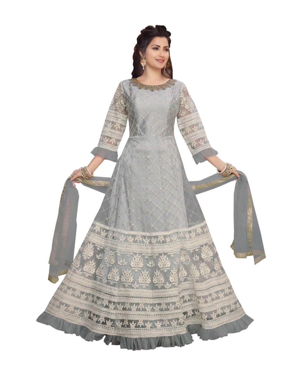 Net Straight cut Salwar Kameez in Grey