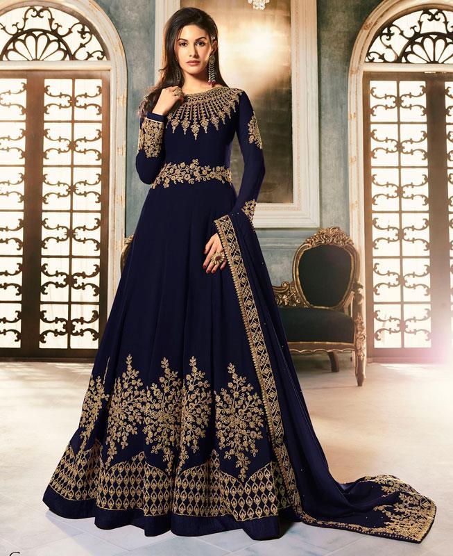 Embroidered Faux Georgette Blue Abaya Salwar