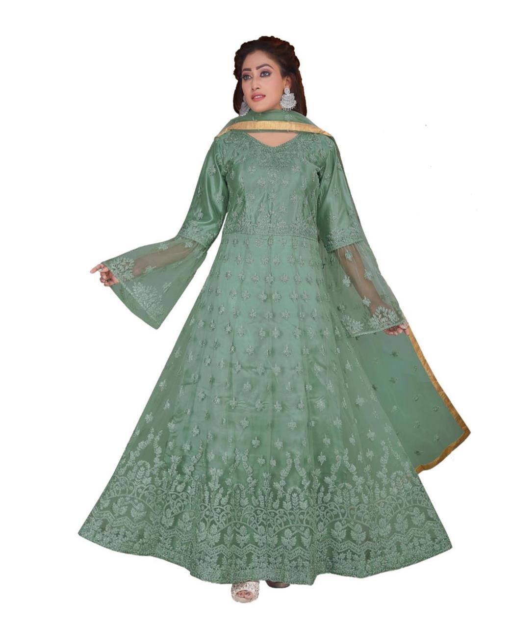 Net Straight cut Salwar Kameez in Turquoise Blue