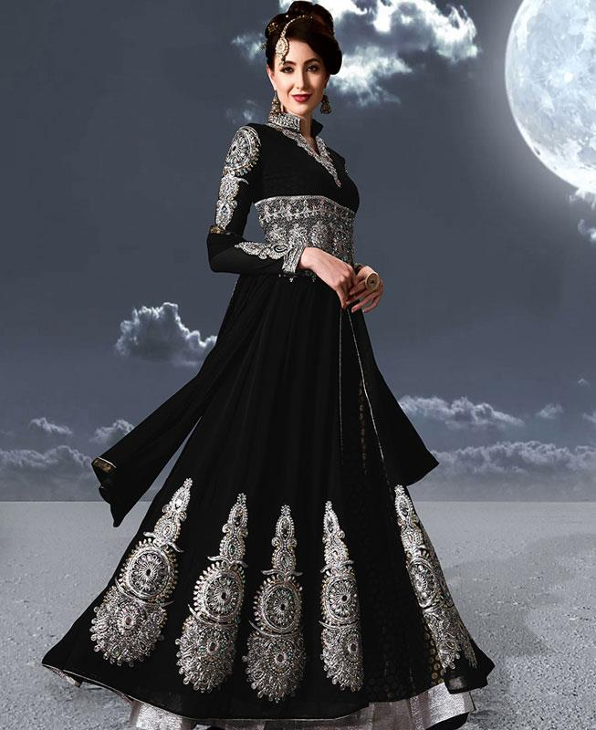 Embroidered Faux Georgette Black Abaya Style Salwar