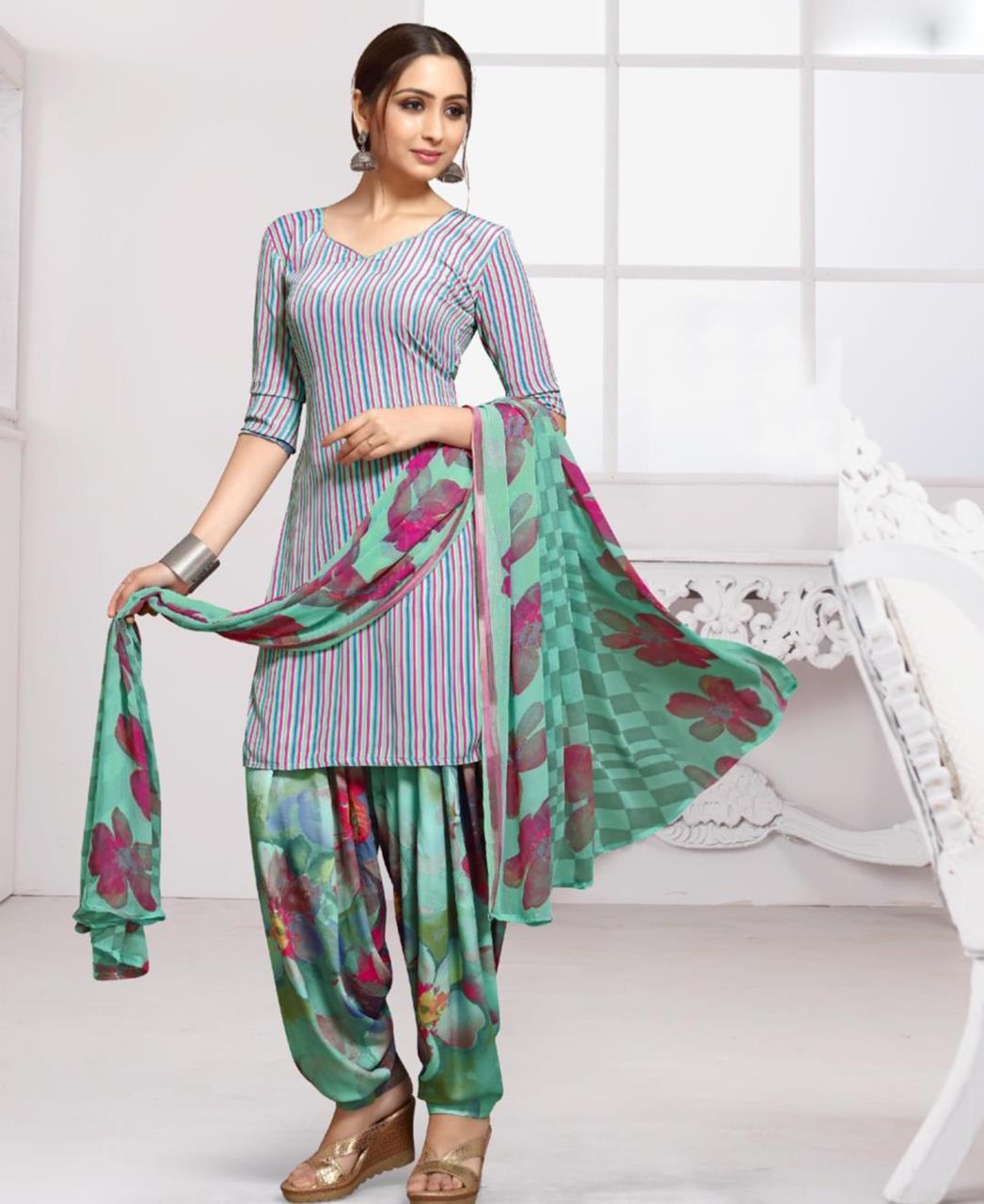 Floral Print Crepe Green Patiyala Suit Salwar