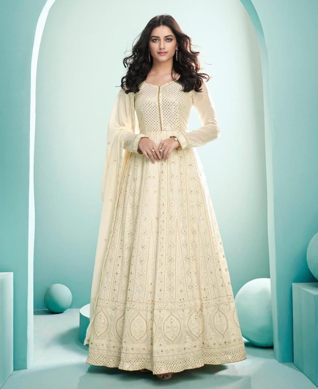 Thread Georgette Abaya Style Salwar in Cream