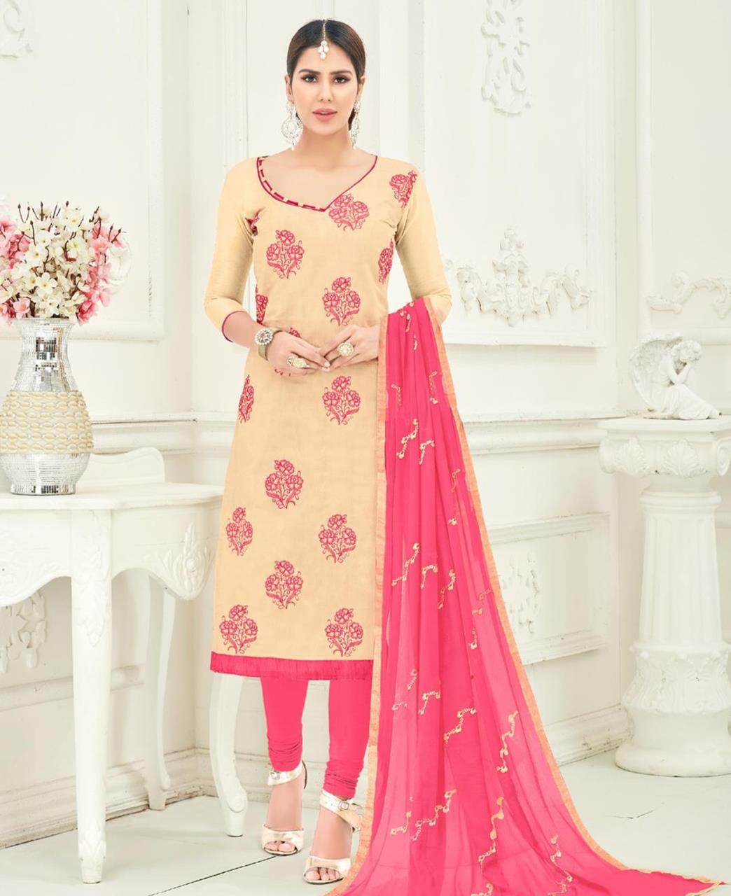 Embroidered Chanderi Beige Straight Cut Salwar Kameez