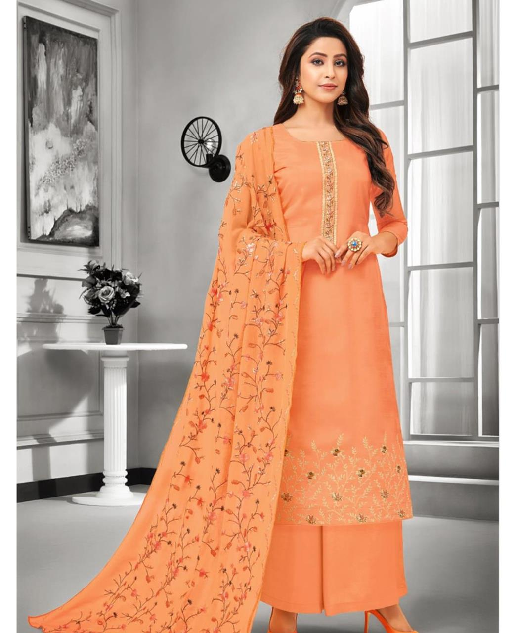 Embroidered Satin Orange Palazzo Suit Salwar