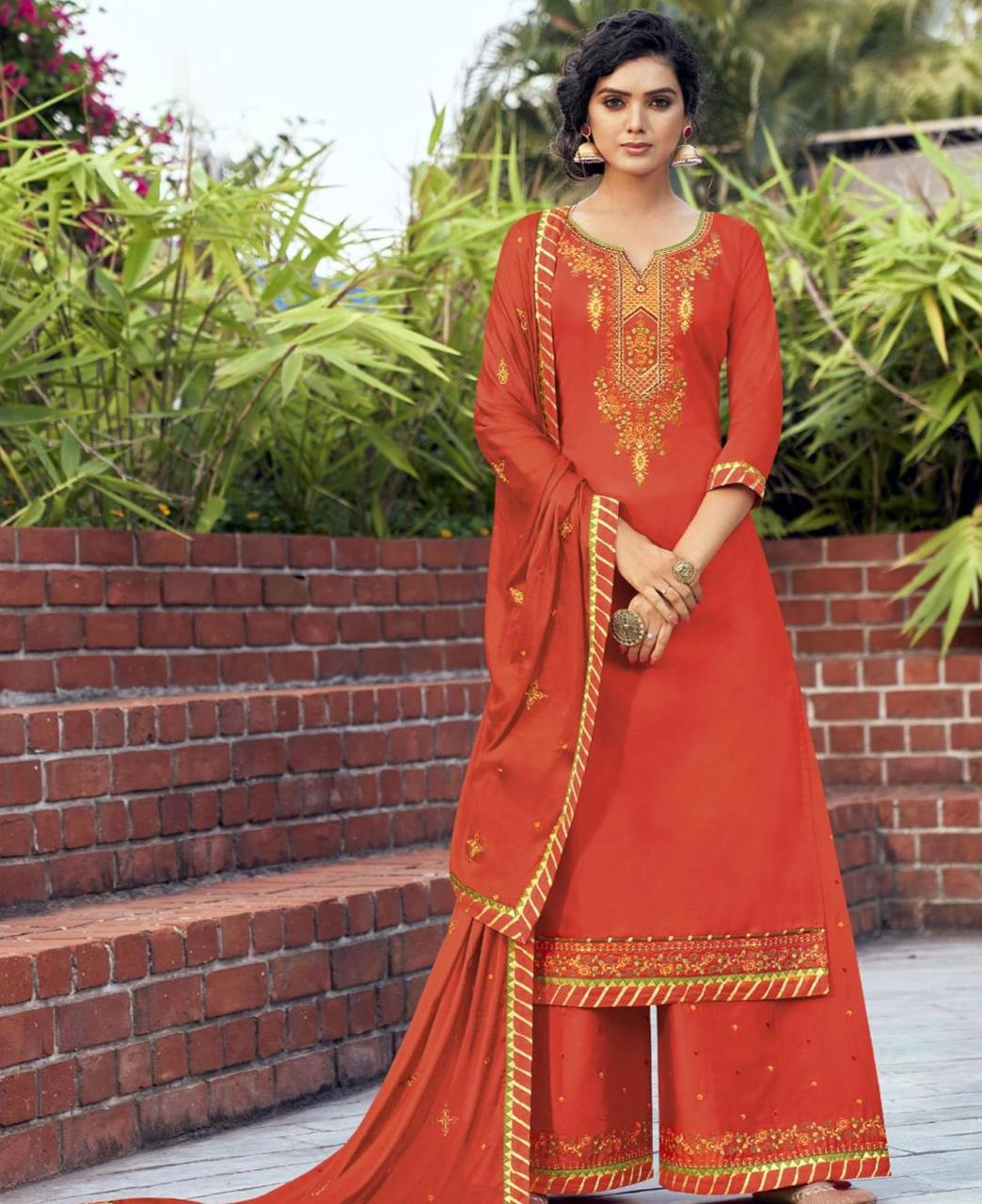 Embroidered Cotton Straight cut Salwar Kameez in Orange