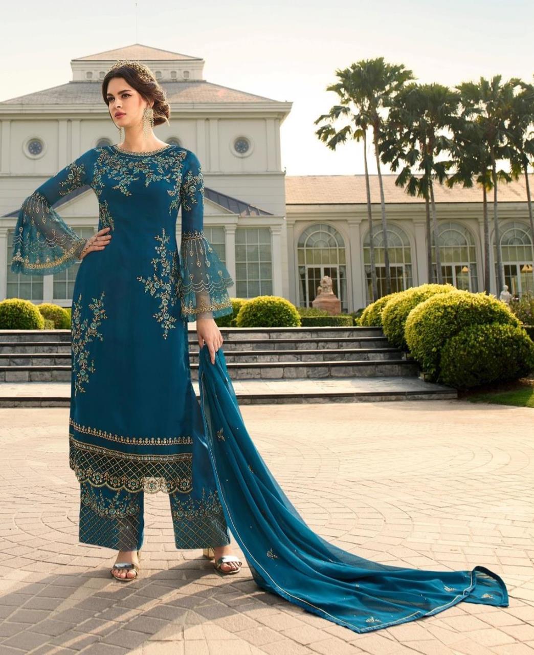 Stone Work Georgette Straight cut Salwar Kameez in Teal Blue