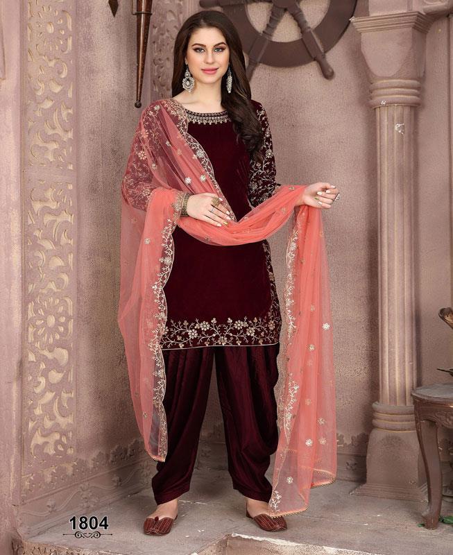 Embroidered Velvet Maroon Patiyala Suit Salwar