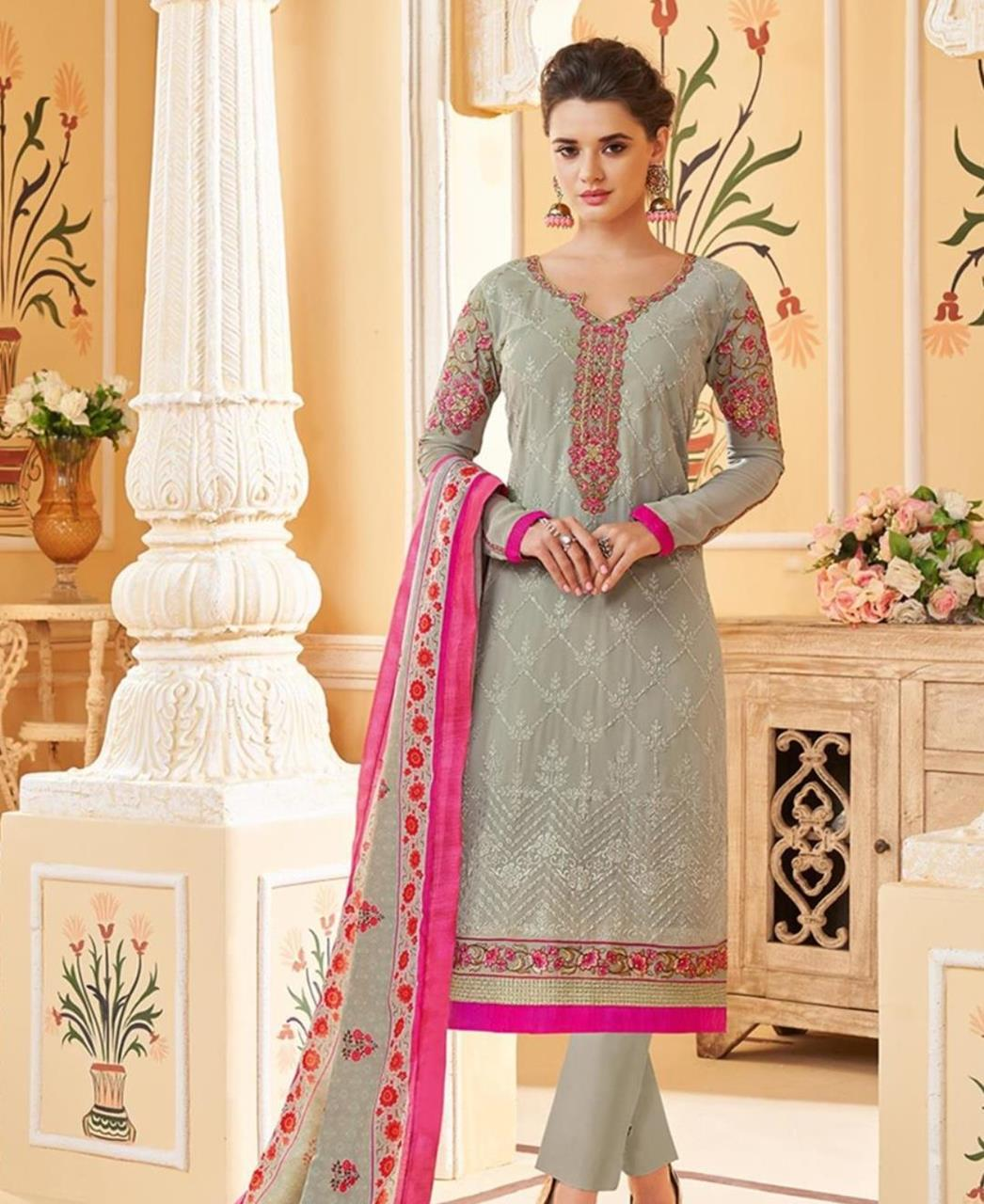 Embroidered Faux Georgette Gray Straight Cut Salwar