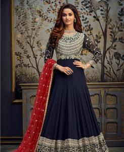 Thread Georgette Abaya Style Salwar in Navy Blue