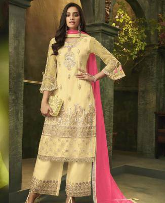 Embroidered Net Yellow Palazzo Suit Salwar