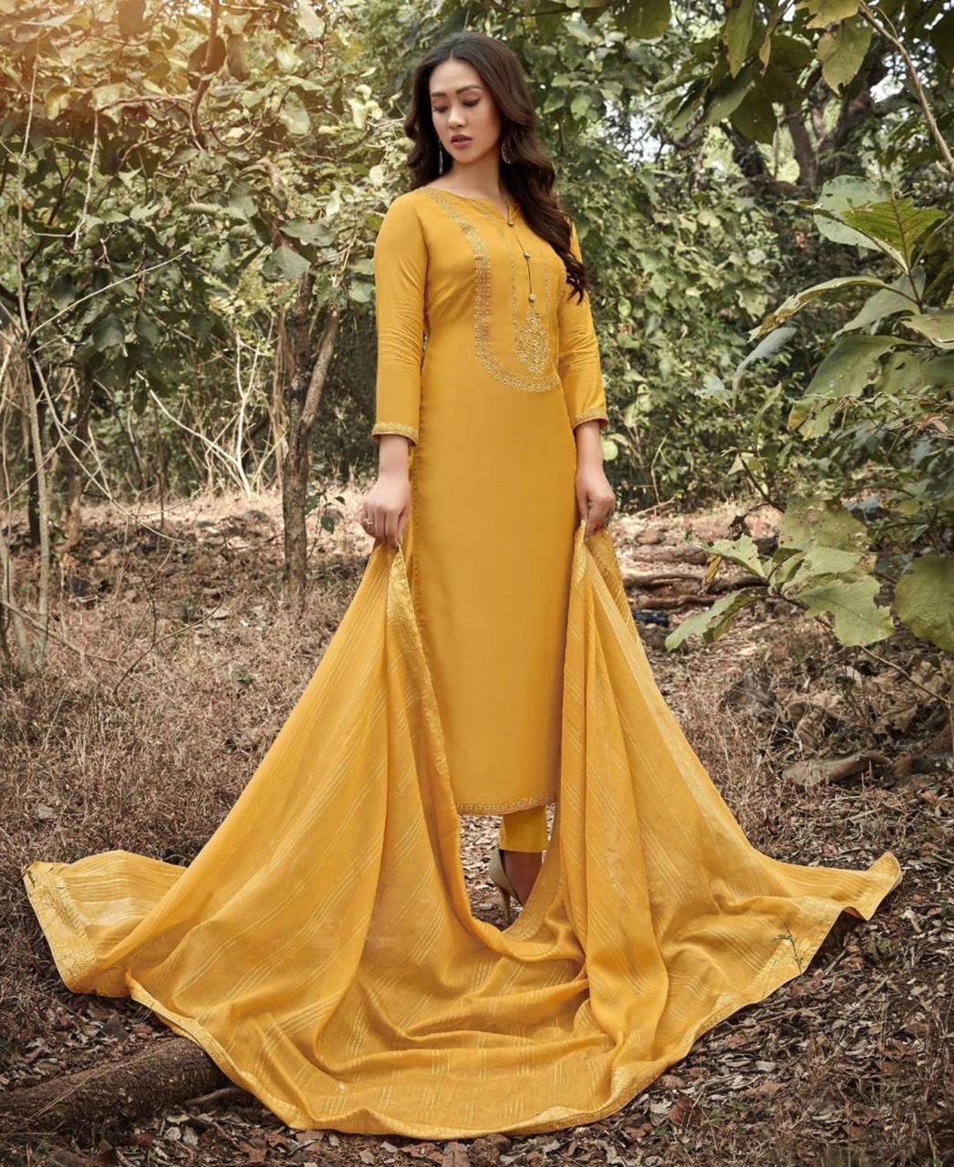 Zari Cotton Straight cut Salwar Kameez in Yellow
