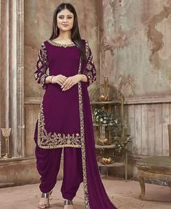 Embroidered Georgette Patiyala Suit Salwar in Purple