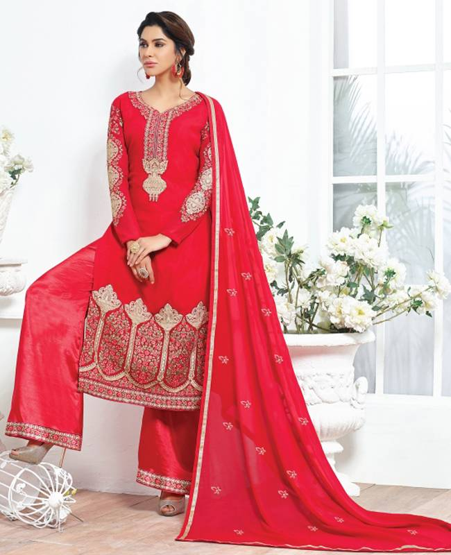Embroidered Faux Georgette Red Salwar Kameez Churidar