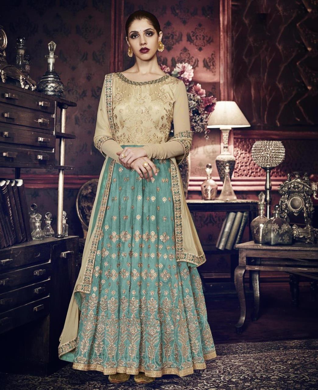 HandWorked Silk Abaya Style Salwar in Chiku  ,  Rama Green