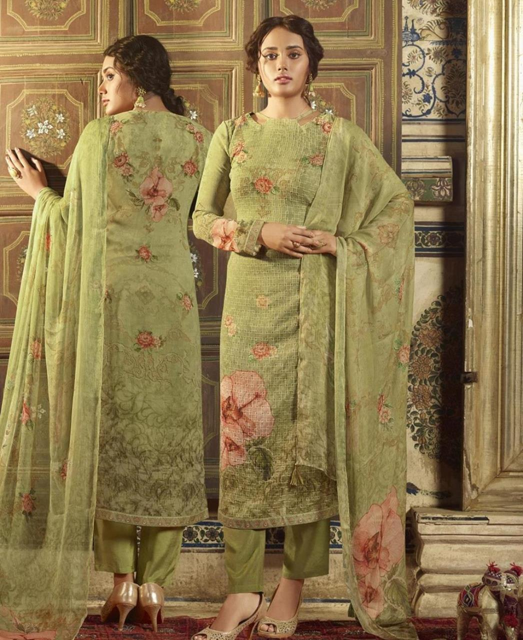 Stone Work Georgette Straight cut Salwar Kameez in Olive Green