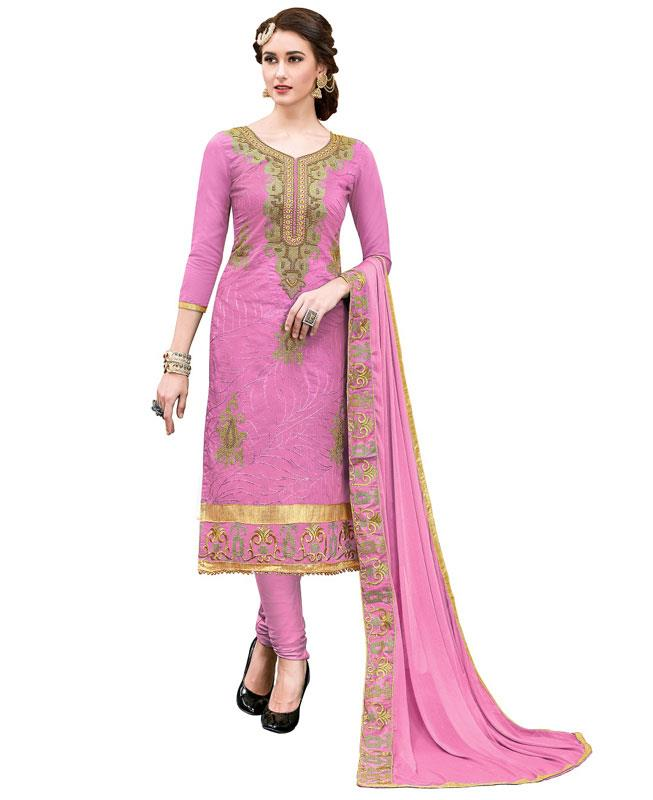 Embroidered Chanderi Pink Straight cut Salwar