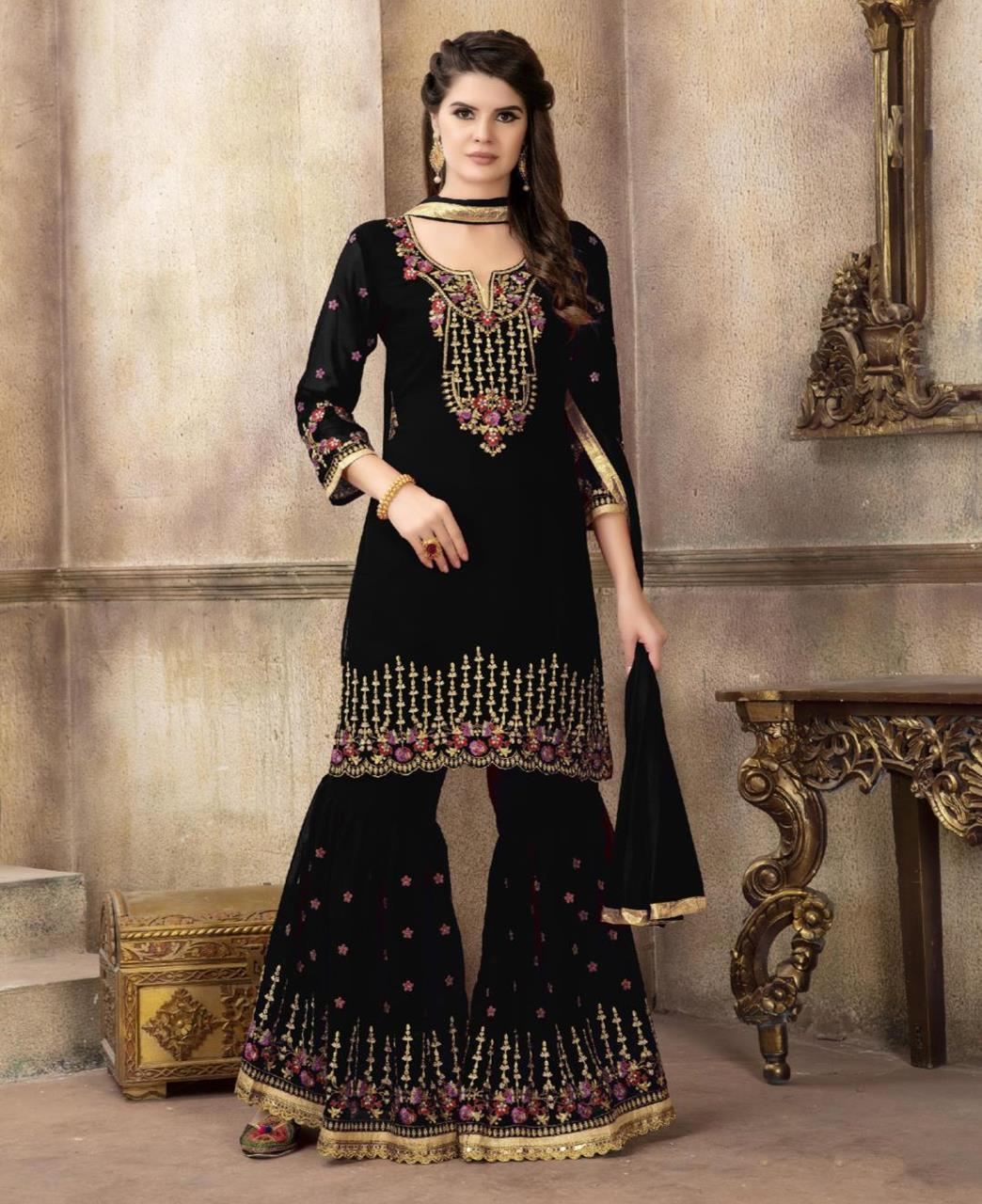 Embroidered Georgette Black Palazzo Suit Salwar Kameez