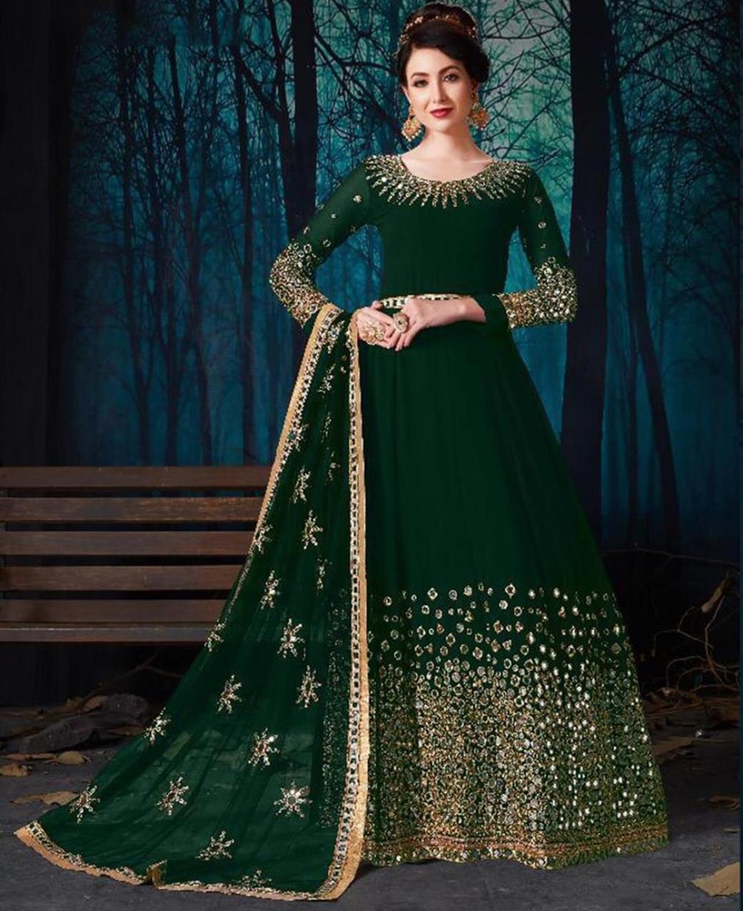 Embroidered Georgette Green Abaya Salwar