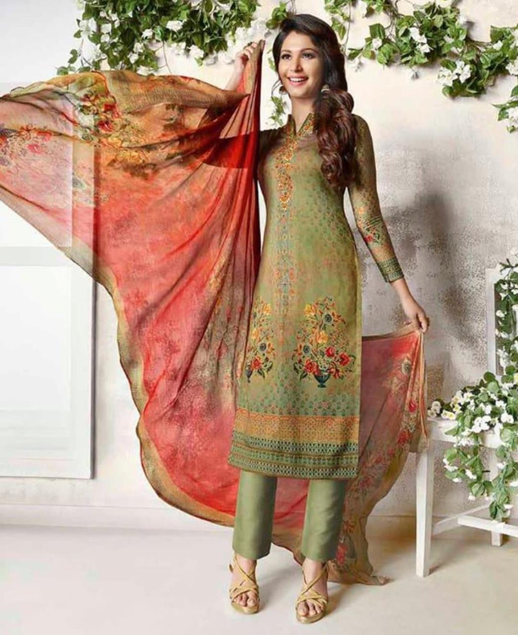 Embroidered Cotton Green Straight Cut Salwar