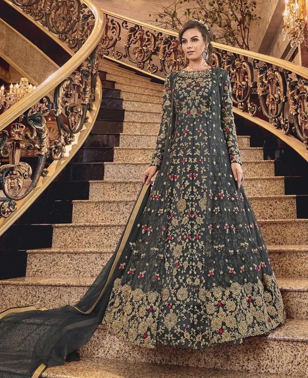 Stone Work Silk Abaya Style Salwar in Black