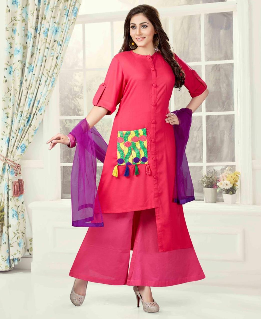 Plain Silk Pink Palazzo Suit Salwar