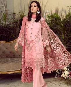 Embroidered Georgette Straight cut Salwar Kameez in Pink